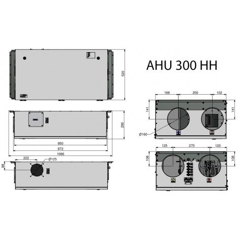 Rekuperatorius ENSY AHU-300HH palubinis rotacinis deš. 300m3/h su integr. valdymu