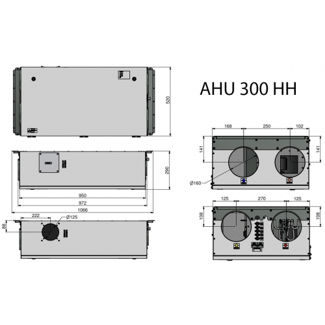 Rekuperatorius ENSY AHU-300HV palubinis rotacinis, kair. 300m3/h su integr. valdymu